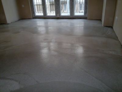 prepared screed for floor heating - stage 1.