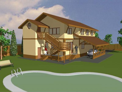 Family detached house - services - 3D design 1
