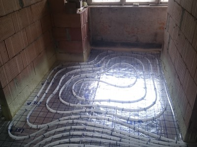 Basement extension floor heating network 3.