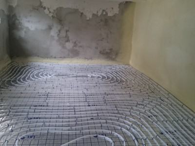 Basement extension floor heating network 2.
