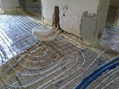 Basement extension floor heating network