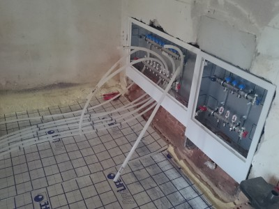 Basement extension - floor heating station