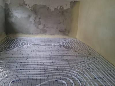 Basement extension floor heating network 2.